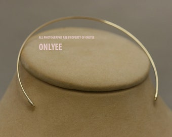 10PCS-2mmBright Gold Plated Brass Half Blank Collar choker Necklaces O Ring For Deco Necklaces (E2901G)