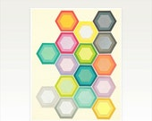 SALE 25% OFF Geometric Honeycomb, Hexagon Pattern Print, Modern Art, Colourful Decor - Honeycomb Layers