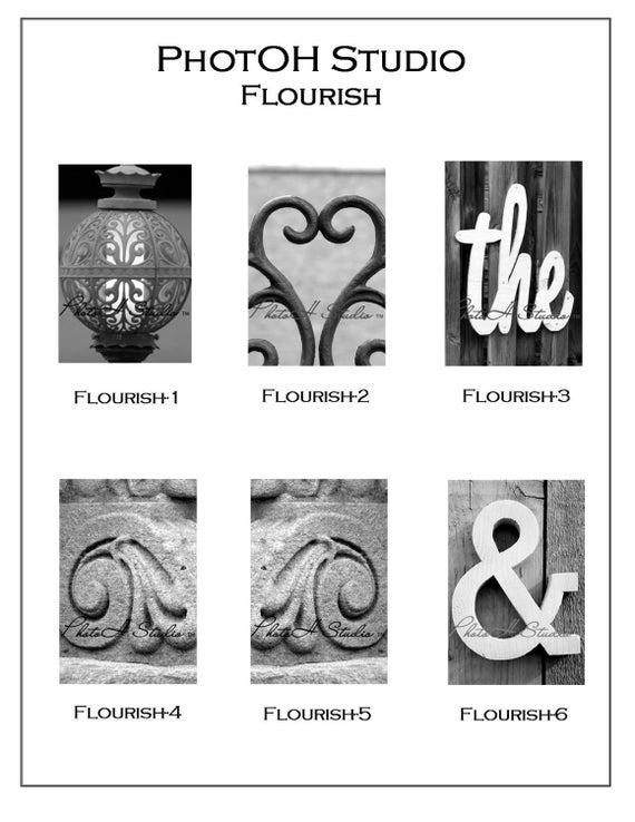 Individual Florish, &  Architectural Alphabet 4 X 6 Black and White Print