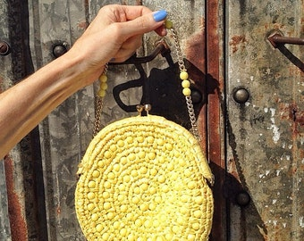 round bag / vintage beaded bag / 60s evening purse