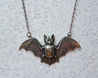 VALENTINES DAY SALE Silver Plated Pet Bat Necklace for Gothic and Curious Tastes Alike // Oddity Storybook Creature of the Night Gothic Wing