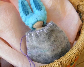Easter Bunny Necklace, Waldorf Inspired, small peg doll, Bunny Gnome, Rabbit, Spring, Turquoise, Gray, Lavender, Upcycled Wool