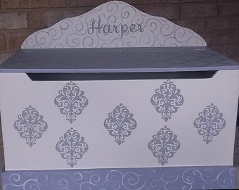 Lavender and Grey,Toy Box, Benches, Toy Chest, Kids & Baby, Lavender Damask Grey,Toy Bin, Toy Storage, Custom, Kids Furniture