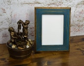 5 x 7 Picture Frame, Teal Rustic Weathered Style With Routed Edges, Home Decor, Rustic Home Decor, Rustic Frames, Rustic Wood, Wooden Frames