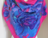 """RESERVED Liz Claiborne Scarf // Large Magenta Colorful Soft Silk Scarf // 34"""" Inch 90cm Square // Best of the Best"""