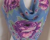 "Vintage Blue Purple Floral Rayon Scarf - 33"" Inch 85cm Square"