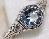 1 Carat Vintage Natural Aquamarine Ring, Antique Engagement Ring, Victorian Era 925 Sterling Silver, Valentine's Day Gift, Engagement Ring