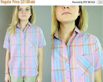 ON SALE Vintage 80s PLAID Camp Shirt
