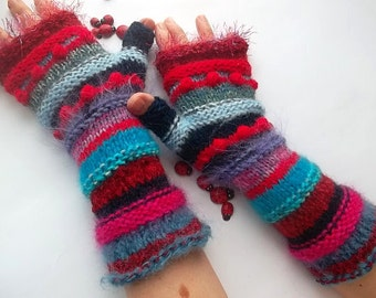 SALE Hand Knitted GLOVES / Women Bohemian Accessories Boho Fingerless Mittens Warm Wrist Warmers Crochet Gift Winter Cabled Striped 1104