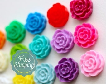 Wholesale 100 pcs Mini Ruffled Rose Cabochons / resin flower cabochons / flat back flower embellishments / resin flower cabs / 12mm