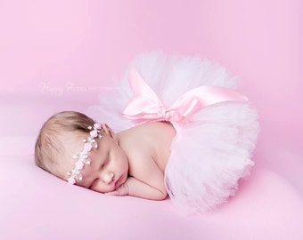 Pink Tutu and Headband Set, Newborn Tutu, Baby Tutu and Headband, Newborn Photography Prop, Baby Girl Prop, Baby Tutu