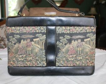 Vintage Purse Handbag Italian Tapestry and Black Leather 1950s