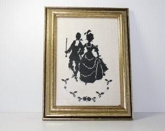 Vintage Framed Needlework Silhouette Colonial Couple Cross Stitch