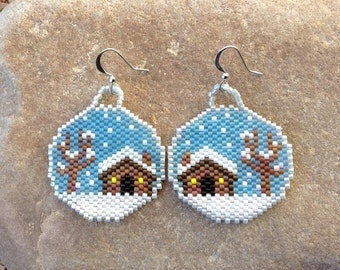 Winter Cabin Snow Glo Beaded Earrings