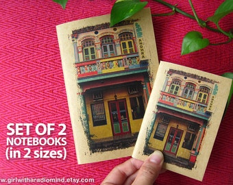 Notebooks Set of 2 - Big and Small - Colourful Shophouses Singapore - Passport Size Journal and its Mini Me