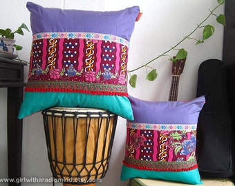 2 Throw Pillows Lavender Turquoise Ethnic Batik - One or Set of 2 Deco Cushion Covers