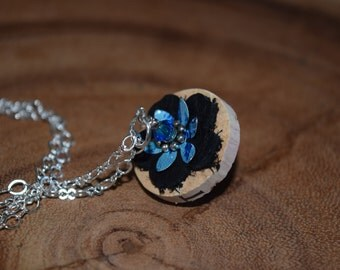 Cork Pendnat with Black Leather Flowers, Blue Swarovski Crystals and Pewter Accents