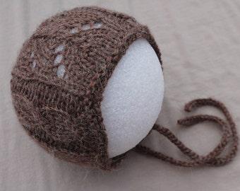 Hand Knit Alpaca Lace Baby Bonnet. Newborn Baby Cabled Lace Bonnet. Brown Baby Bonnet. Lace Baby Hat.