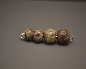 Set of 4 handmade Lampwork Glass beads -Made by Sheri McDermott-Hotflash Designs-SRA-green brown tan