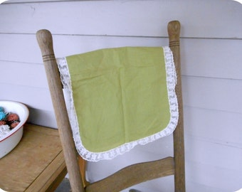 Vintage Willow Sage Green Cotton / Linen Table doily runner Rounded Rectangle with white lace edging