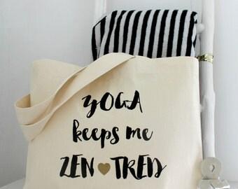 Yoga Keeps Me Zentred | Yoga Gym Bag | Yoga Bag | Yoga Gift | Yoga Lovers Gift | Funny Yoga Gift