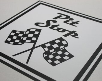 Pit stop party sign, race car birthday party, die cut party sign, pit stop party, race car party, construction birthday party, party sign