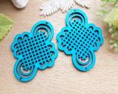 WP52 / # 9 Aqua Blue / Geometrical Filigree Oriental Knot Wood Findings For Earring/Laser Cut Charm / Pendant /  Colorful wooden pendants