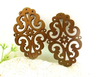 WP12 / #13 Coffee / Wood Moroccan Style Pairs for Earring / Laser Cut Wooden Charm /Pendant /Filigree Wood Pendant / Ear drop