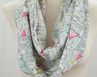 Cityscape Organic Cotton Voile Infinity Scarf Cotton Lawn Scarf Summer Weight Scarf Lisa Congdon Organic Fabric Scarf Gift Ideas Under 50