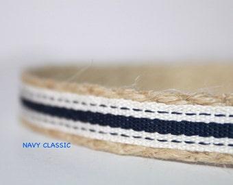 "Navy Stripe Dog Collar, 5/8"" Wide Dog Collar, Nautical Dog Collar, Dog Collar, Leash and Collar Set"