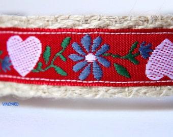 Heart Dog Collar, Valentine Dog Collar, Red Dog Collar, Adjustable Dog Collar, Floral Dog Collar, Girl Dog Collar