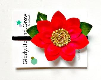 Christmas hair bow, Poinsettia Hair Flowers, Headband Bow, giddyupandgrow
