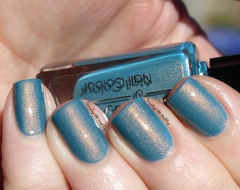 "Nail polish - ""Damaged Bills"" Dark teal blue shimmer polish"
