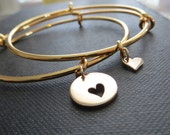 Mother of the bride gift, mother daughter bangle, mom and daugnter heart bracelet, heart cutout charm, expandable, mother of the groom
