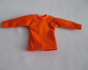 Handmade outfit for Blythe doll long sleeve Sweater Tee shirt Orange SW-19