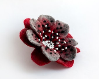 Felted Brooch Polka dot Flower Felt Pin Handmade OOAK Fiber Art White Red Black Gift for her
