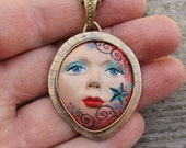 Reserved For Lorraine Ross - 1st payment of Goddess of the Moon and Stars Brass Pendant