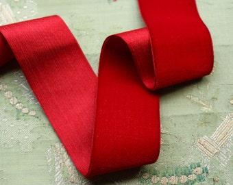 "1 yard antique 1 11/16"" wide silk velvet ribbon deep blood red crimson shade ribbonwork dress millinery hat trim flapper edwardian"