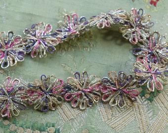 15 piece Vintage metal bullion rosette trim art deco silver pastels 1930s  ribbon ribbonwork millinery trim flapper 1920 edwardian applique