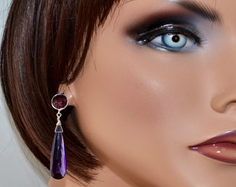 LP 1274 Elongated Faceted Pear Shaped Amethyst Drop Earrings