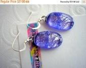ON SALE Earrings Periwinkle Blue Dichroic Glass Iridescent Glass Earrings Fused Glass Blue Earrings Purple Blue Earrings Hand Carved Glass J