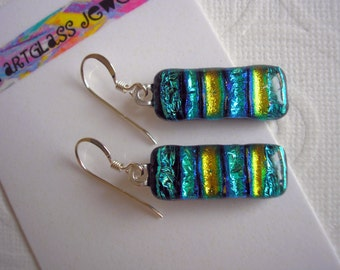 Earrings Blue-Green Sea Sparkle Fused Dichroic Glass Jewelry .925 Sterling Earwires Artist Crafted Striped Accessories Kiln Fired Iridescent