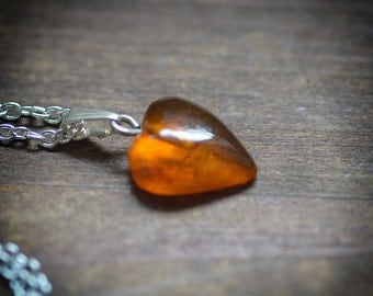Amber Heart Pendant - Orange Amber heart bead on filigree silver color chain - Genuine baltic amber necklace, boho pendant