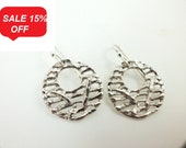 Texture Sterling Silver  Earrings Abstract Disc Dangle - ElenadE