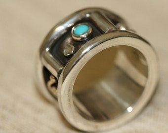 Turquoise Wide Solid Silver Ring ,Solid Silver Ring, Turquoise Silver Ring, Statement Ring, Wide Solid Silver Band,