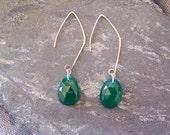 Glowing Green Onyx Earrings, READY TO SHIP