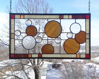 """Ten Circles Geometric 2 --10"""" x 18""""- Stained Glass Panel"""
