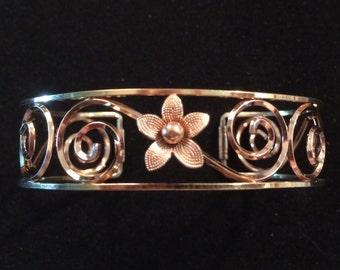 Vintage Krementz Flower Cuff Bracelet - Metal, Floral