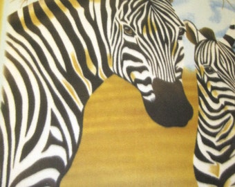 Fleece Blanket Handmade  - Zebras in the Wild with Green - Ready to Ship Now