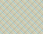 Tan Aqua Red and Green Plaid Fabric, Offshore by Deena Rutter for Riley Blake Design, Plaid Print in Tan, 1 Yard